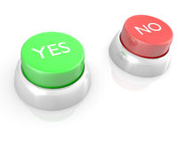 YES and NO buttons. 3D abstract rendering of YES and NO buttons stock illustration