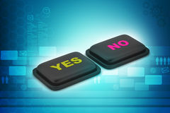 Yes no buttons. In color background Stock Photography
