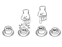 YES NO buttons with hand vector. Illustration Stock Photos