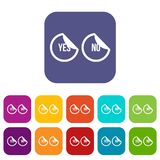 Yes and no buttons icons set. Vector illustration in flat style in colors red, blue, green, and other Stock Photography