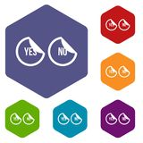Yes and no buttons icons set Stock Photos