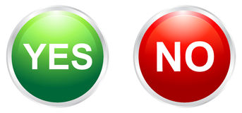 Yes and no buttons. Illustration of yes and no buttons Royalty Free Stock Photo