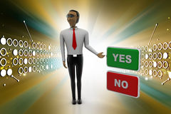 Yes no buttons with man Stock Image