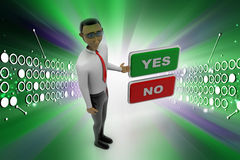 Yes no buttons with man Royalty Free Stock Photography