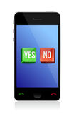 Yes and no buttons on phone Stock Photo
