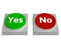 Yes No Buttons Shows Validation Or Check Royalty Free Stock Photos