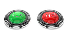 Yes and no buttons are on white background. Stock Photos