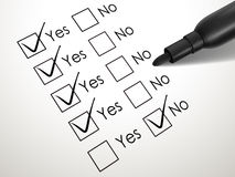 Yes no check box with black pen Stock Image