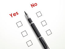 Yes no check box with a pen Royalty Free Stock Photos