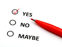 Yes or no check box. With red pen Stock Images