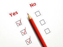 Yes no check box with red pen Royalty Free Stock Images