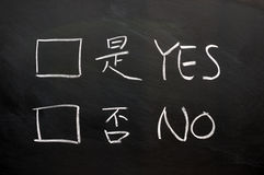 Yes and no check boxes Royalty Free Stock Image