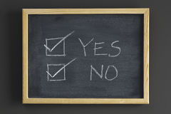 YES and NO check boxes on blackboard Stock Images