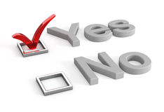 Yes and no check boxes with check mark in the Yes Stock Image