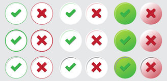 Yes no check choice mark button vector vote icon Royalty Free Stock Image