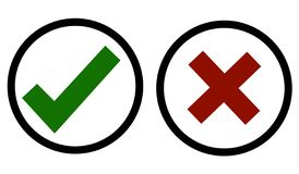 Yes or No - It`s Your Decition. Agree and Disagree Icon. Yes & No Check Mark Symbols in Red and Green Color with Circle Boxes Isolated on White Background stock illustration