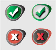 Yes and No check marks. Vector Yes and No check marks Stock Photos