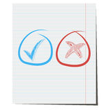 Yes and No check marks. Vector. Drawn by hand on notebook sheet Stock Image