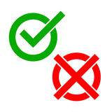 Yes and No check marks. Vector illustration. Royalty Free Stock Images