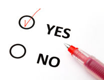 Yes or no checkbox Stock Photography