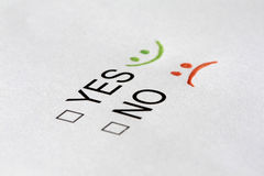 Yes or no checkboxes. With pen Stock Photos