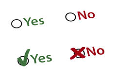 Yes or No Checkboxes. Checked and unchecked Yes and No Checkboxes Royalty Free Stock Images