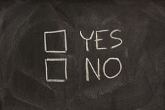 Yes and no checkboxes on blackboard Stock Photo
