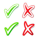 YES & NO Checmarks Stickers Royalty Free Stock Photo