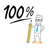 Yes or no choice. Mark 100  percent with drawing cartoon Royalty Free Stock Photo