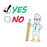 Yes or no choice. Tick yes with drawing cartoon Royalty Free Stock Image