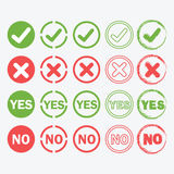 Yes and No circle icons in silhouette and outline set Royalty Free Stock Photo