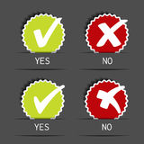 Yes no circular label - check mark symbol Stock Photography