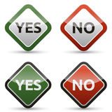 YES - NO color board. With shadow on white background Stock Photography