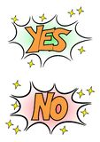 Yes No Comic Word Sticker Illustration royalty free illustration