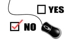 Yes and no with computer mouse Stock Images