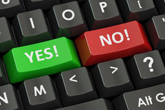 Yes and No concept on the black keyboard, 3D rendering. Yes and No concept on the black keyboard, 3D Royalty Free Stock Photography