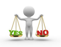 Yes or no. 3d people - man, person with words yes or no in balance Stock Photo