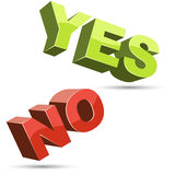Yes and no 3D shapes flat color design Royalty Free Stock Photography