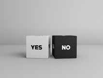 Yes no dice cubes in black and white color Stock Images