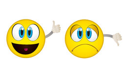 Yes and No emoticons. Yes and No vector emoticons Royalty Free Stock Image