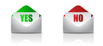 Yes and no envelope letters. Isolated over a white background Stock Images