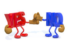 Yes and no fightning. 3d illustration Stock Photos