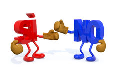 Yes and no fightning Italian/Spanish version. 3d illustration Royalty Free Stock Images