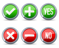 Yes and No Glossy Buttons Stock Images