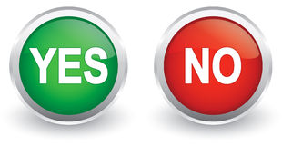 Yes/no glossy icons Stock Photos