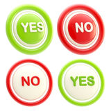 Yes and no glossy plastic buttons isolated. Yes and no ged and green glossy plastic buttons isolated on white stock photo