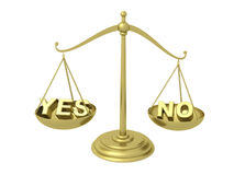Yes or No on the Golden scales Royalty Free Stock Image