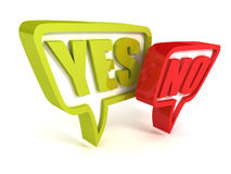 Yes or No green red speech bubbles on white. 3d Royalty Free Stock Photo