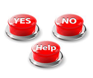 Yes, no, help web glossy buttons. Royalty Free Stock Images