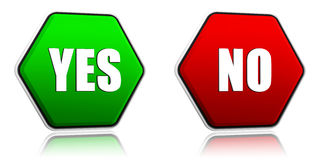Yes and no in hexagon buttons. 3d red and green hexagon buttons with text yes and no Royalty Free Stock Image